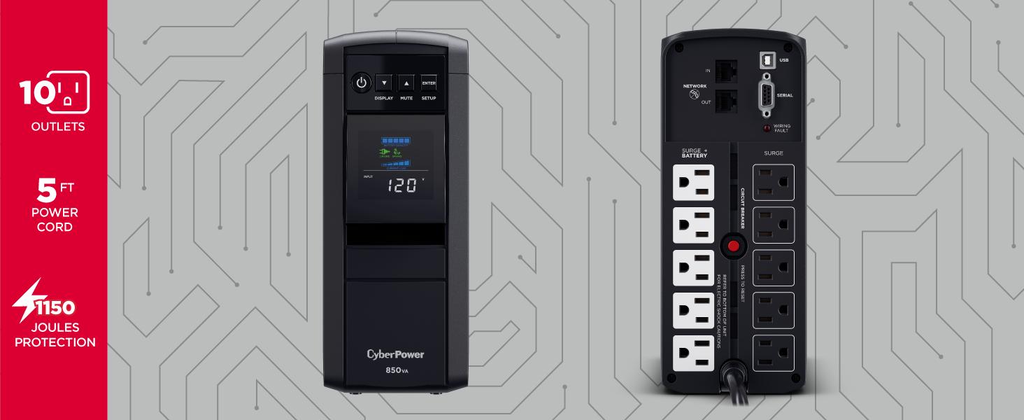 CyberPower CP850PFCLCD PFC Sinewave UPS System - Hotspots