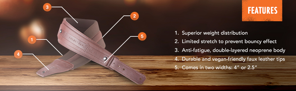 "Gruv Gear SoloStrap Neo 2.5/"" Wide Neoprene Adjustable Guitar Bass Strap Black"