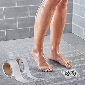 Feet and legs in shower with safety walk to prevent sliding