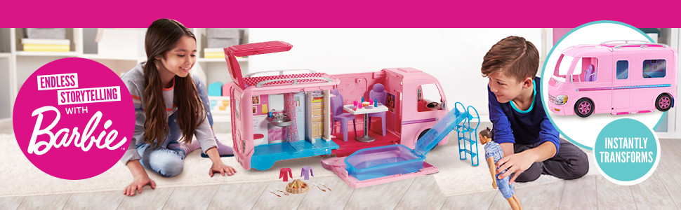 Barbie ESTATE Dream Camper Pink Pop Out Caravan for Dolls, Accessories Included, Playset Vehicle