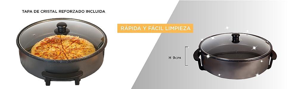 SOGO SS-10105 Multicazuela Eléctrica. Paellera, Sartén Eléctrica para Paella y Pizza, con Revestimiento de Piedra de 42cm de diámetro y 9cm de ...