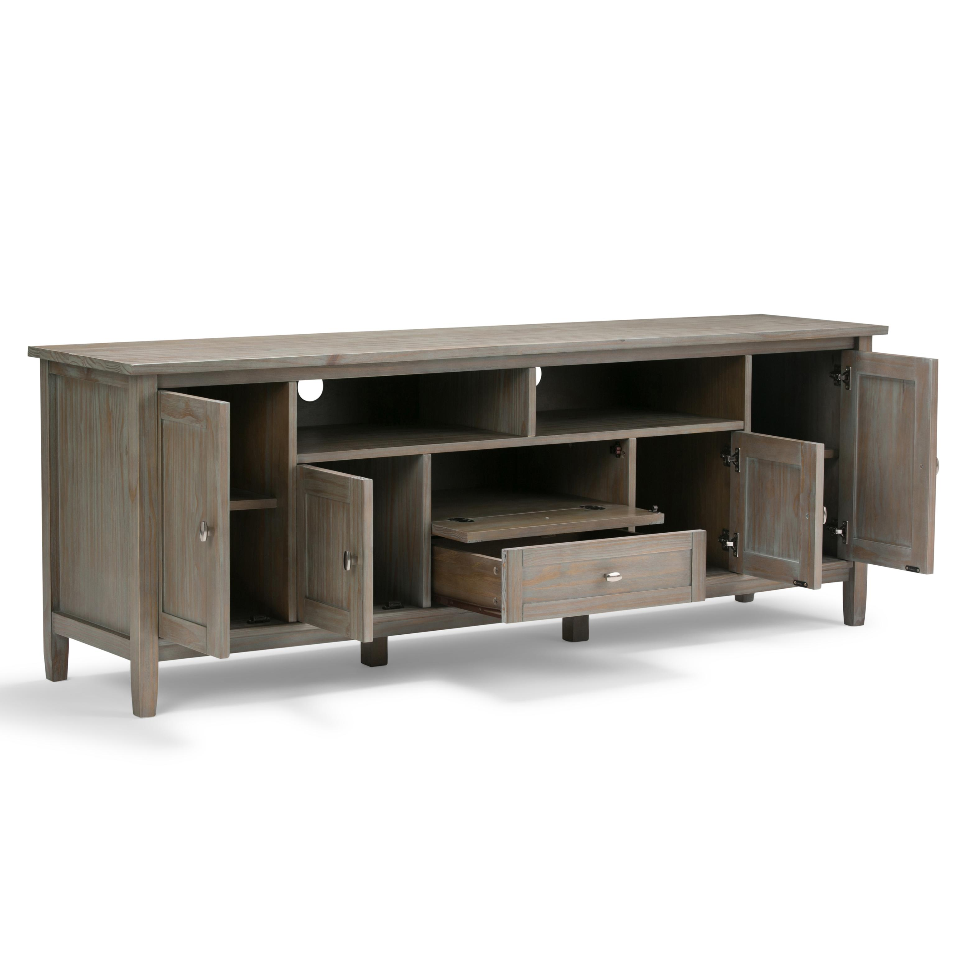 simpli home warm shaker solid wood 72 tv media stand distressed grey kitchen dining. Black Bedroom Furniture Sets. Home Design Ideas