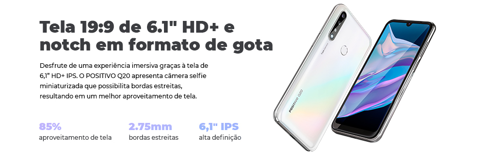 "Smartphone Positivo Q20, 4Gb Ram, 128Gb, Tela 6.1"", Camêra"