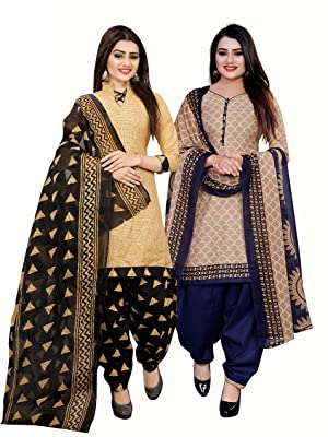 Rajnandini Women's Beige And Beige Cotton Printed Dress Material