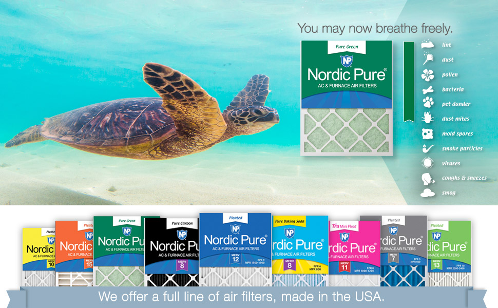 Nordic Pure 20x20x1 Pure Green Plus Carbon Eco-Friendly AC Furnace Air Filters 6 Pack