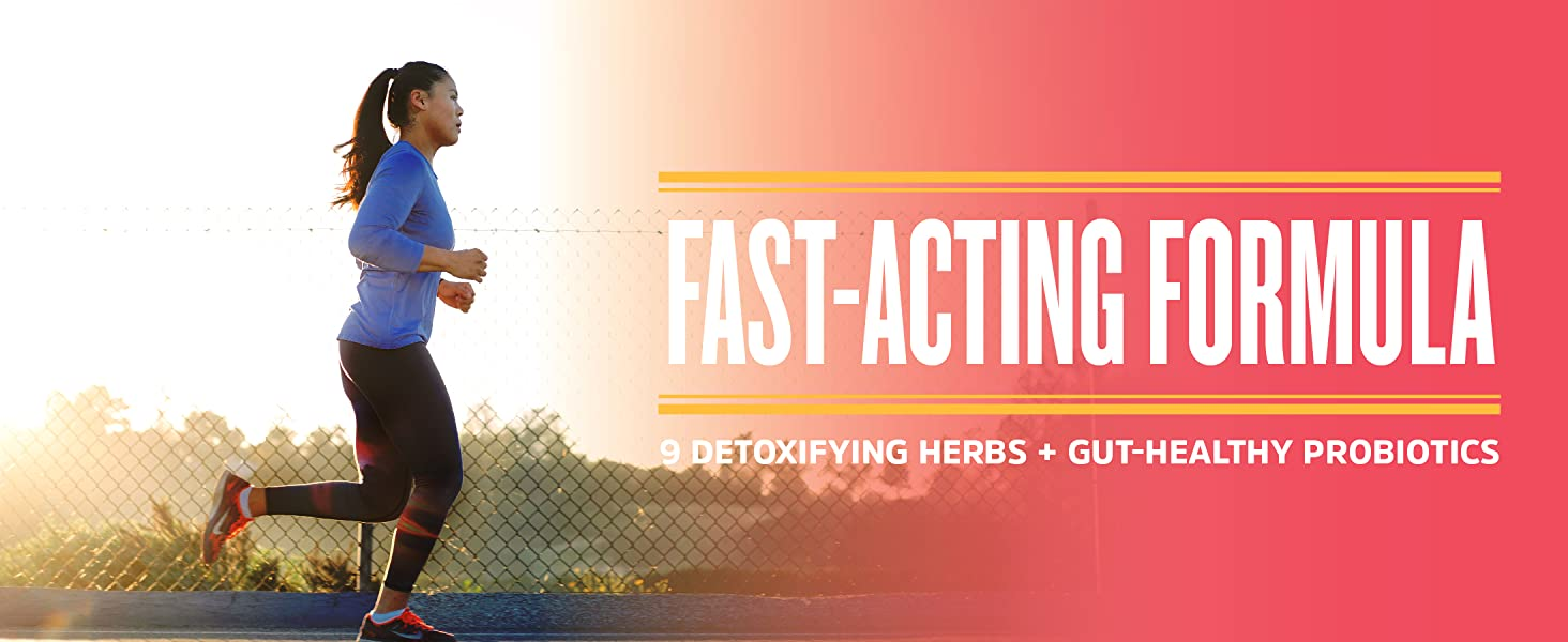 fast-acting formula. 9 detox herbs + gut + healthy. Health woman running