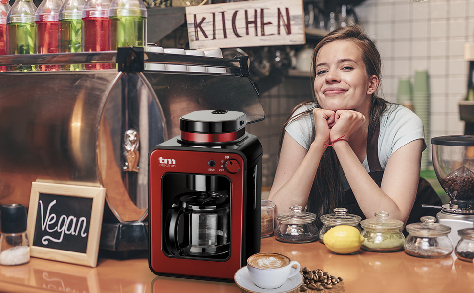 TM Electron TMPCF020R Mini cafetera de Goteo con Molinillo Grano, 4 Tazas, 600W y Filtro Lavable Compatible con café molido, 600 W, Ro: Amazon.es: Hogar