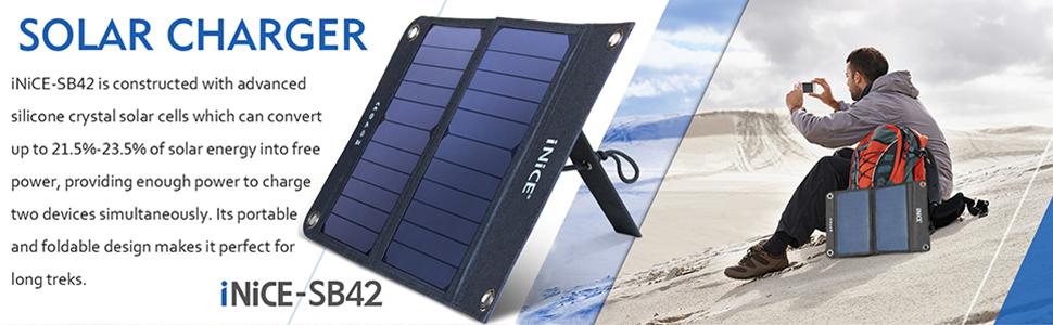 Portable Solar Charger BEARTWO 10000mAh Ultra-Compact External Blue