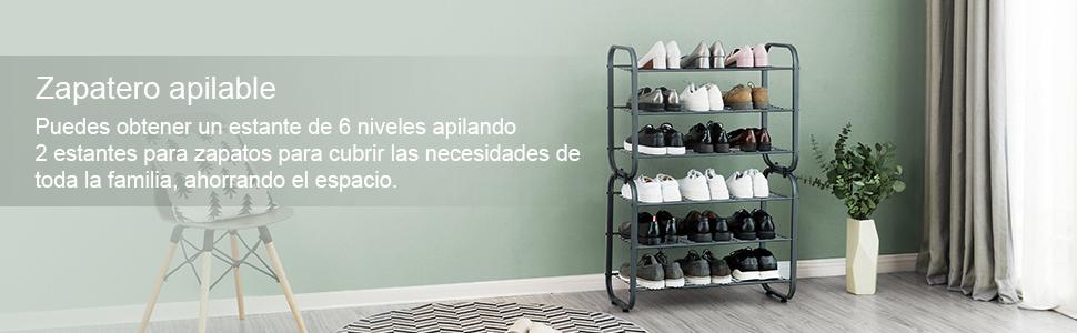 Con Estantería Apilable Para Metal Zapatos De 0w7qofwy Zapatero Songmics TRwdqqFv