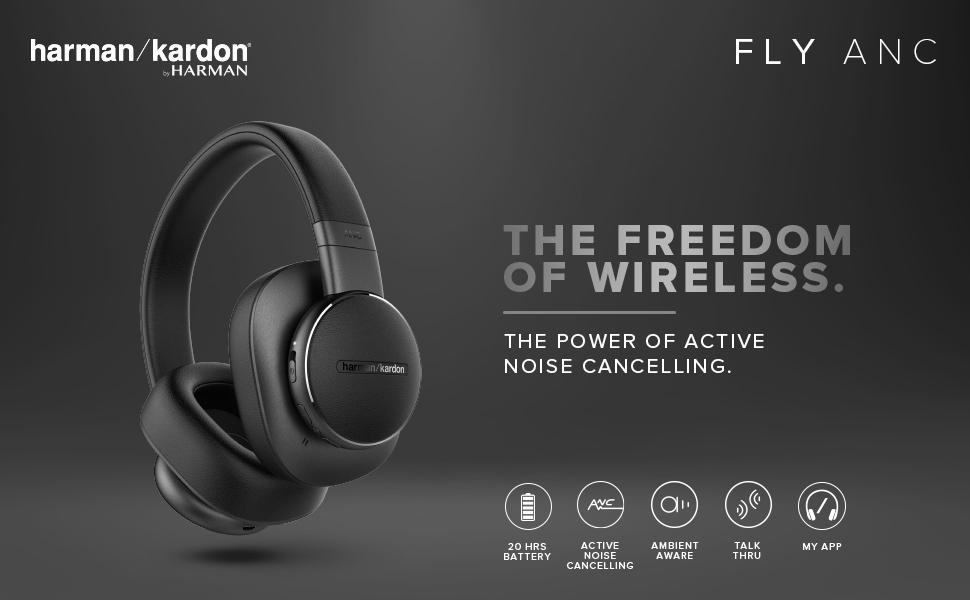 Harman Kardon Fly Over-Ear Active Noise Cancellation Wireless Headphone