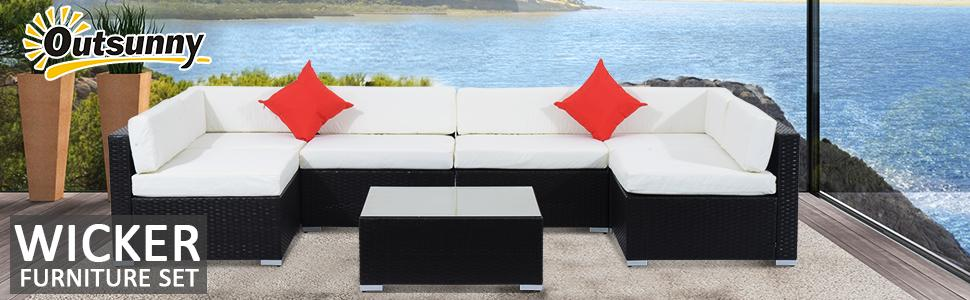 outsunny 7pcs outdoor rattan wicker sofa patio sectional