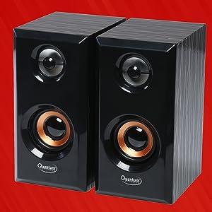 Quantum QHM630 Portable Laptop/Desktop USB Powered Multimedia Wooden Speaker with AUX Input (Black)
