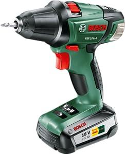 Bosch Home and Garden 0 603 973 30G Atornillador/taladro con bateria de litio de 2 velocidades, 45 W, Negro, Verde, Rojo, 18 V