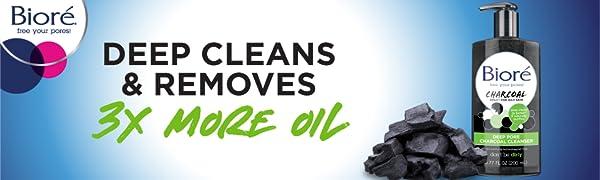 biore deep pore charcoal cleanser oily skin cleanser natural charcoal deep clean face wash