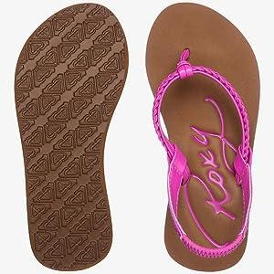 roxy, roxy sandals, flip flops for little girls, beach sandals, billabong, reef, sanuk