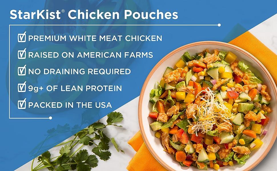 StarKist Chicken Pouches Premium White Meat Chicken Raised on American Farms 9g+ of Lean Protein