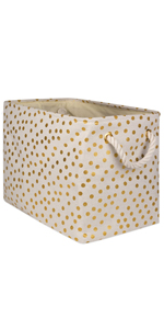 polyester polka dots gold large storage container