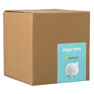 Image of piggy bank in cardboard box.