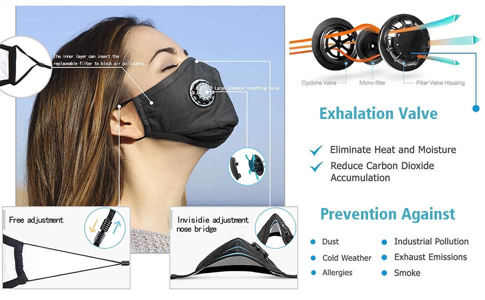 5 Pieces With Breathing Valves Sponge Face MaskReusable Anti-fog Haze Washable