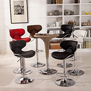 Roundhill Furniture Masaccio Leatherette Upholstery Airlift Swivel Barstools