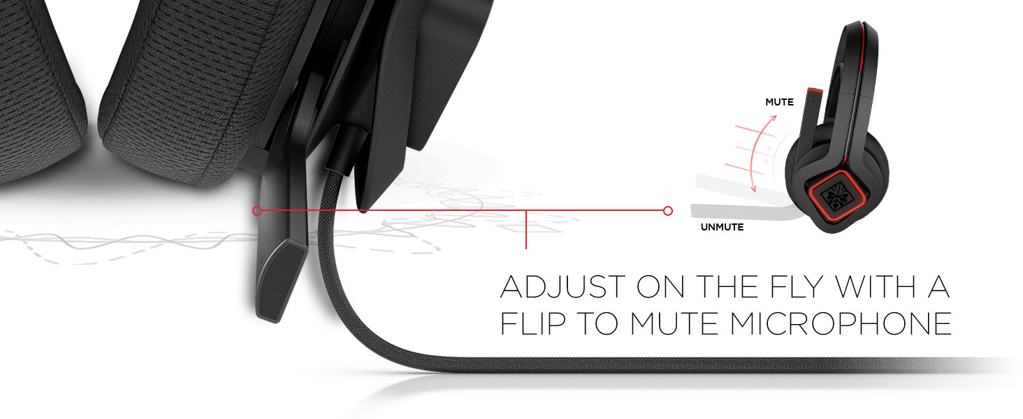 OMEN Mindframe Prime Headset Flip to mute microphone