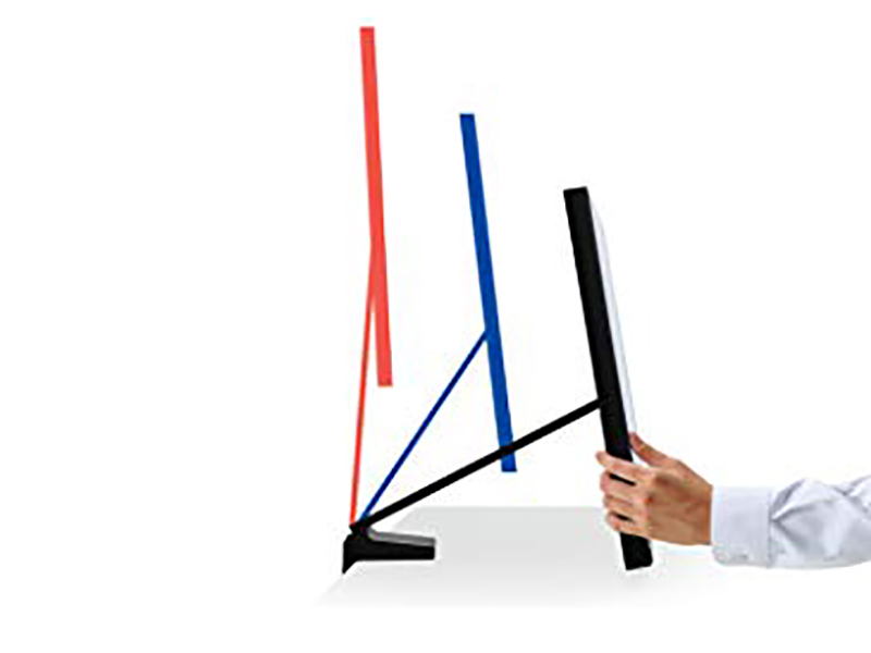 Side view of Samsung The Space WQHD LED Monitor to show Height-Adjustable Arm Stand