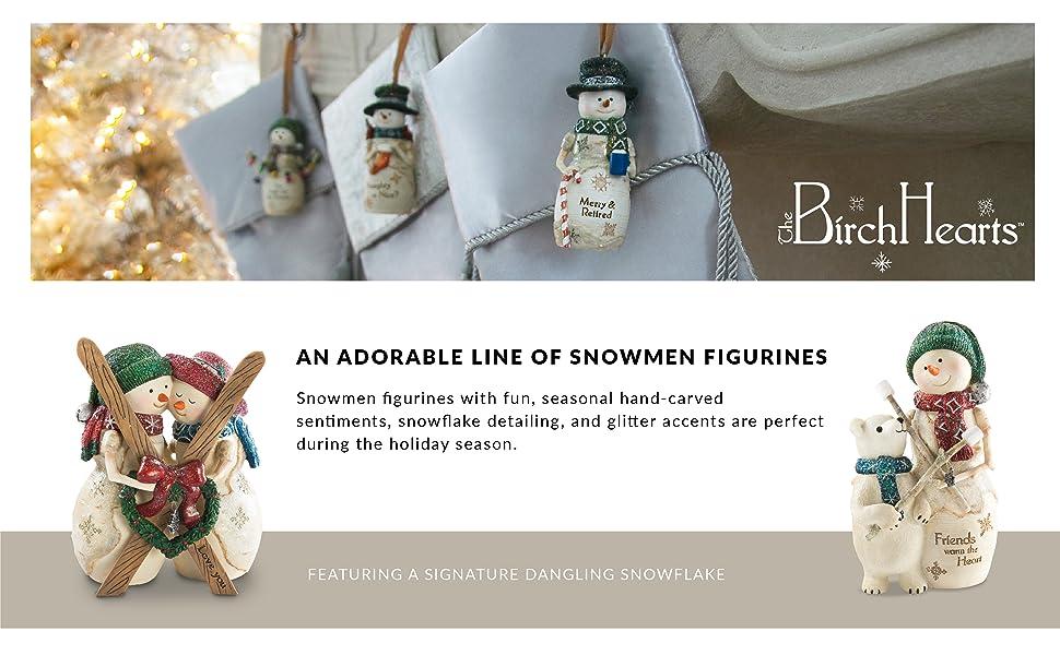 the birchhearts; snowmen; figurines; snowman; christmas; decor; decoration; polar bear; reindeer