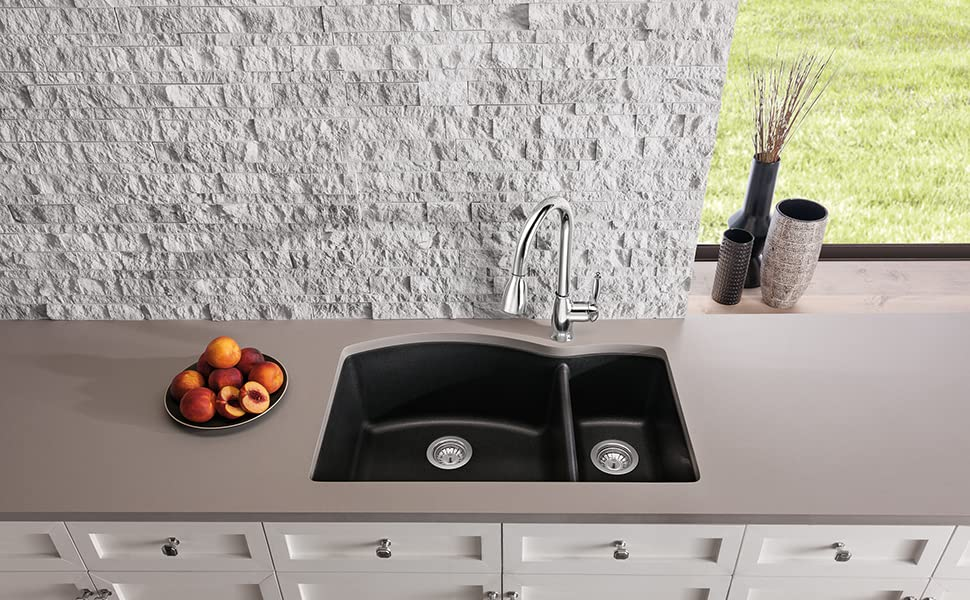 Blanco Anthracite 440199 Diamond Silgranit 70 30 Double Bowl Drop In Or Undermount Kitchen Sink 33 X 22 Double Bowl Sinks Amazon Com