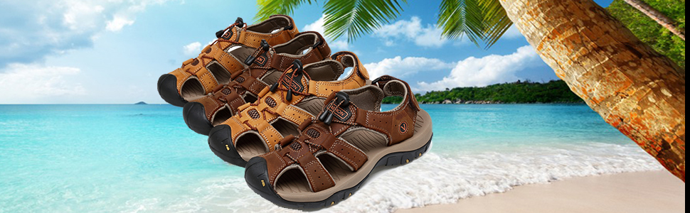 b458c92226c2 Mens Leather Outdoor Sports Hiking Sandals Trekking Fisherman Beach ...