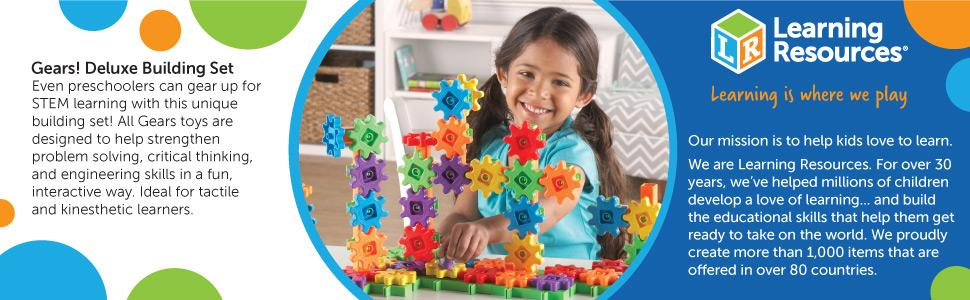 899a3c5d Learning Resources Gears! 100 Piece Deluxe Building Set, Construction Toy,  Ages 3+