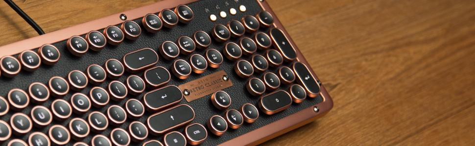 Azio, Retro, Classic, Vitange, Genuine, Leather, typewriter, backlight, clicky, tactile, back lit,