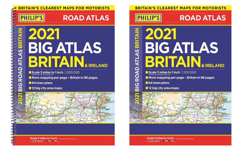 road atlas europe best-seller philip's new maps detailed road UK Ireland A3 city