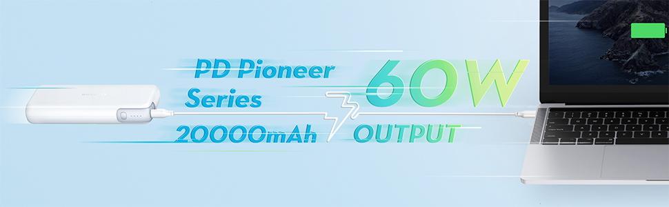 RAVPower モバイルバッテリー 20000mAh PD対応 60W