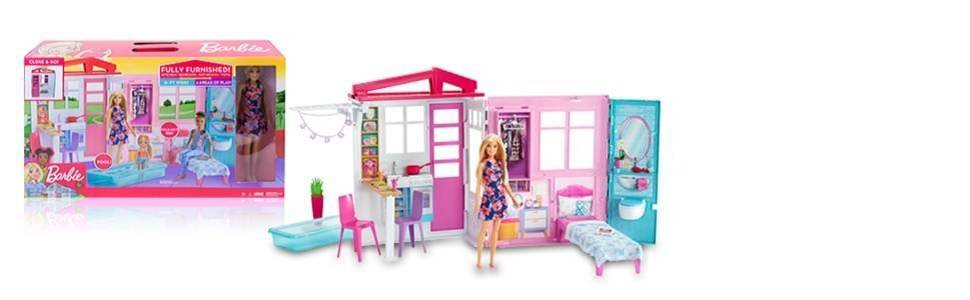 Muñeca Barbie y casa de muñecas portátil de una planta con piscina y accesorios, para niñas de 3 a 7