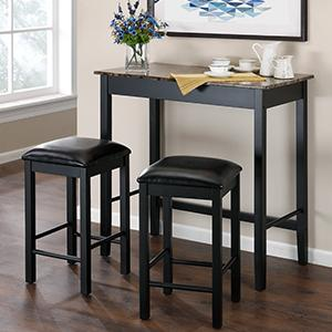 Amazon.com - Dorel Living 3-Piece Devyn Faux Marble Pub Dining Set ...