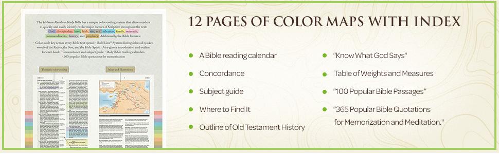 niv rainbow study bible, reading calendar, color maps