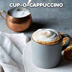 Dunkin Donuts home-brewed ground coffee served as cappuccino-style coffee topped with milk
