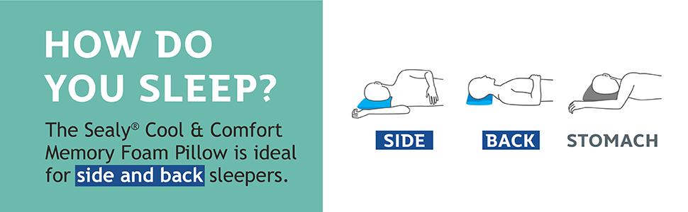 Sealy Essentials Cool  Comfort Reversible Pillow Standard//Queen Memory Foam