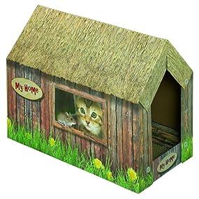 nobby 71993 katzenhaus aus karton haustier. Black Bedroom Furniture Sets. Home Design Ideas