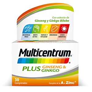 multicentrum, plus, ginseng, ginkgo, energía, vitaminas, vitamina B, minerales, inmunidad