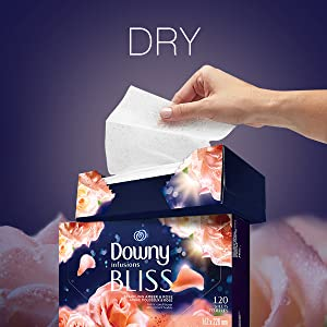 dry downy infusions dryer sheets bliss scent, drying sheets for dryer, floral scent, clothing