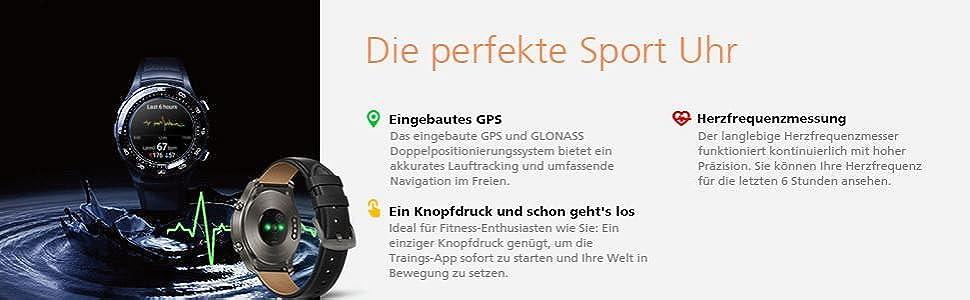Sportuhr Wasser dunkler Hintergrund GPS GLONASS Fitness-Uhr Trainings-Apps Herzfrequenzmessung