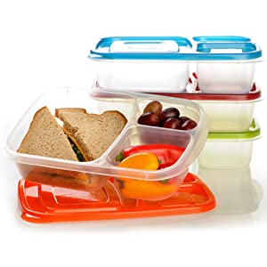 EasyLunchboxes 3-Compartment Bento Lunch Box Containers, Set of 4