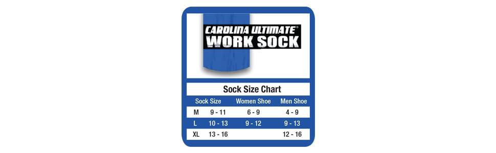 Carolina Ultimate Sock Size Chart
