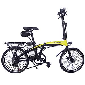 bicicleta eléctrica amarilla