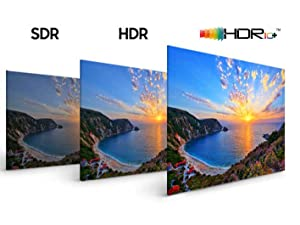 SDR, HDR, and HDR 10+ side-by-side comparison
