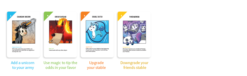 4 cards, Unstable Unicorns, Unstable Unicorns Card Game, Double Dutch Card, Unfair Bargain Card
