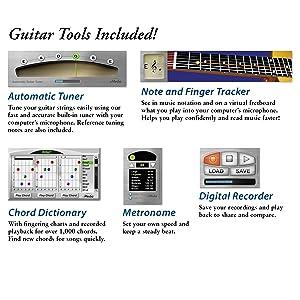guitar tuner, metronome software, simple recorder, guitar chord dictionary