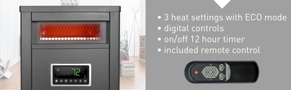 amazon com lifesmart large room 6 element infrared heater w remote