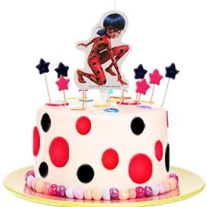 dekora 346183 Vela de Cumpleaños 2D Ladybug, Cera, 9cm